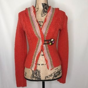 FREE PEOPLE Cable Knit Orange Hooded Cardigan S